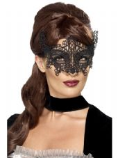 Black Lace Filigree Swirl Eye Mask